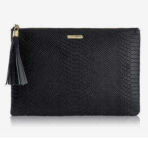 Gigi Uber embossed python clutch black